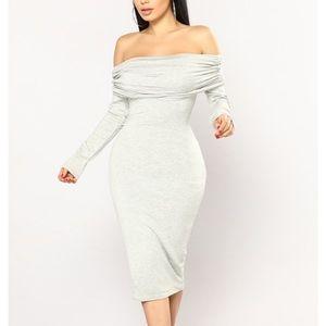 Fashion nova off the shoulder grey dress